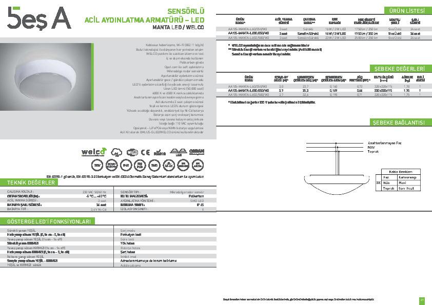 Beş A Ürün Kataloğu MANTA LED WELCO