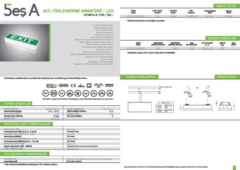 Beş A Ürün Kataloğu SOMON-XLED2 DALI (EXIT)