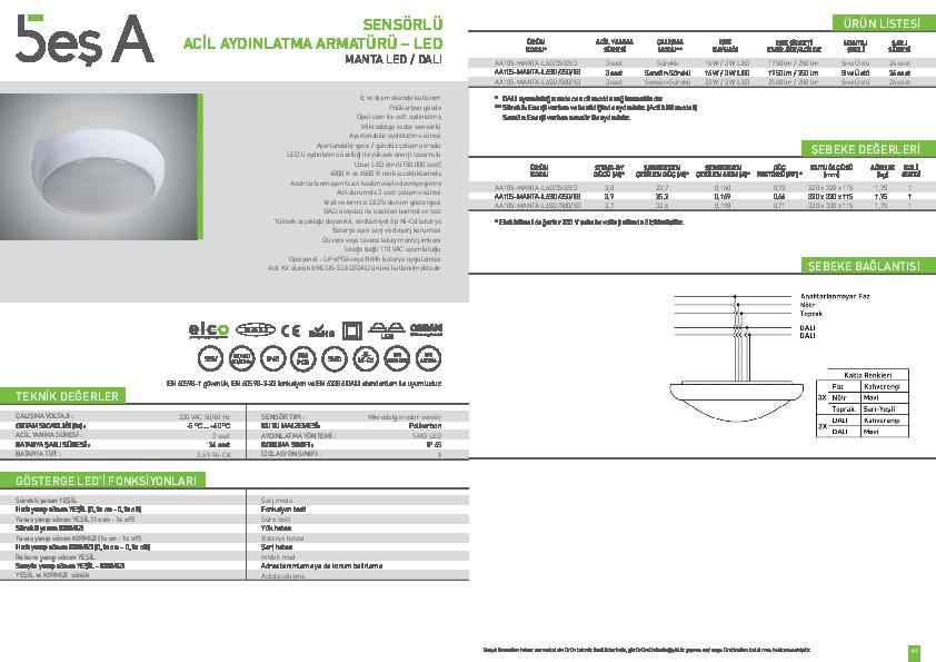 Beş A Ürün Kataloğu MANTA LED DALI