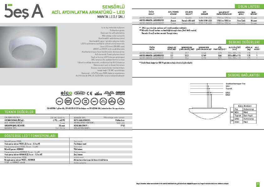 Beş A Ürün Kataloğu MANTA LED (DALI)