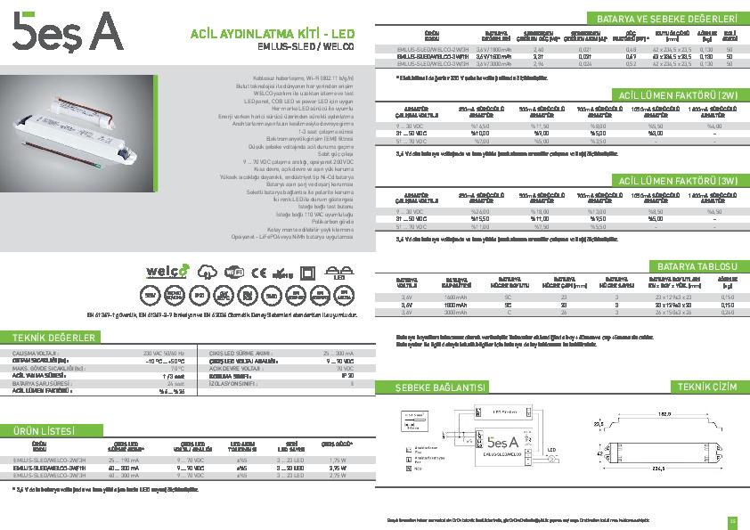 Beş A Ürün Kataloğu EMLUS-SLED WELCO rev.1