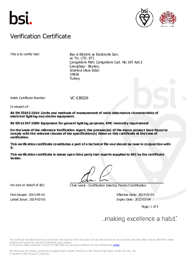 BSI (Verification Certificate for CE)